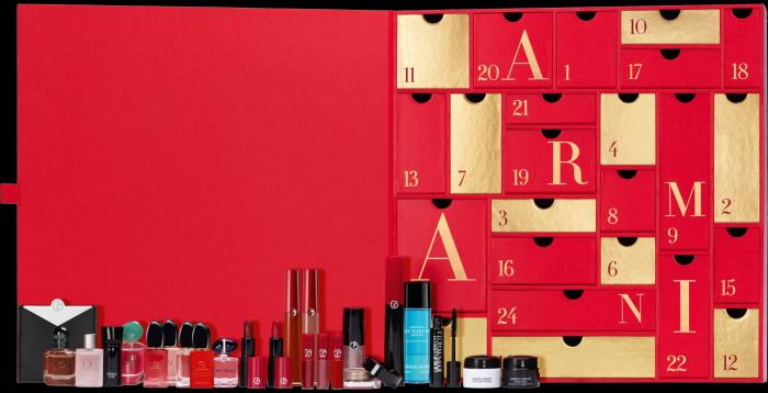 Armani's cosmetics and creams are concealed in its Advent calendar