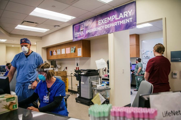 Frontline: medical staff at the Houston Methodist The Woodlands Hospital last month in Houston, Texas