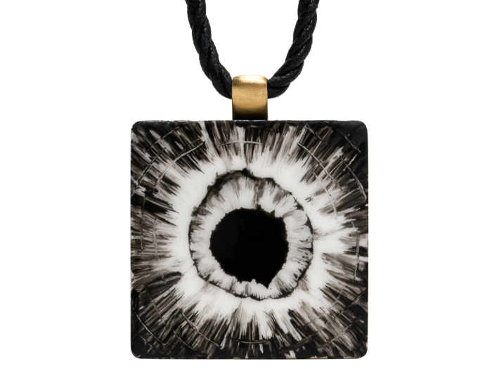 Bullet Hole Pendant, 2020, by Robert Longo