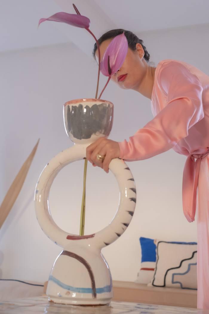 Leenaert with one of her ceramics