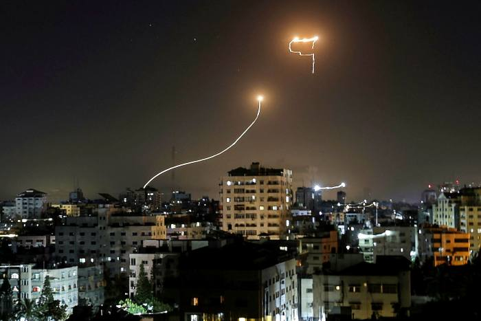 Israel's Iron Dome anti-missile system intercepts rockets launched from the Gaza Strip, on Sunday