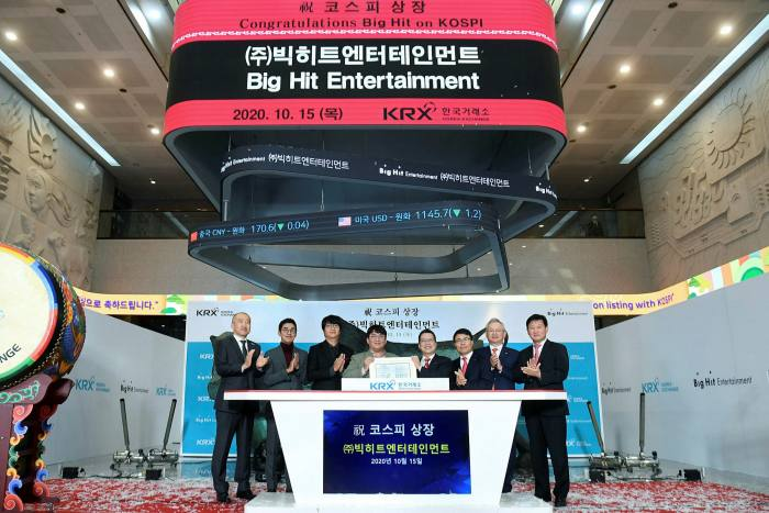 Bang Si-hyuk, fourth left, founder of Big Hit Entertainment, and other attendees at the company's initial public offering ceremony at the Korea Exchange in Seoul on October 15