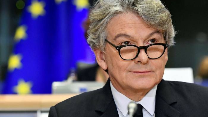 Thierry Breton, the EU's internal market commissioner at a hearing before the European Parliament, in Brussels, in November 2019