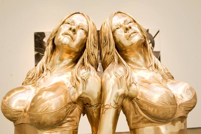 Sculpture of Pamela Anderson by Marc Quinn, part of his 2010 exhibition that examined extreme plastic surgery