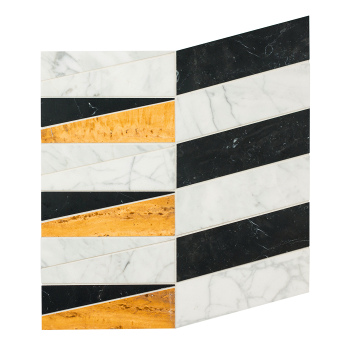 Kelly Wearstler marble Clemente Small mosaic tiles from the Liaison collection, from $59.95 per sq ft, from Ann Sacks