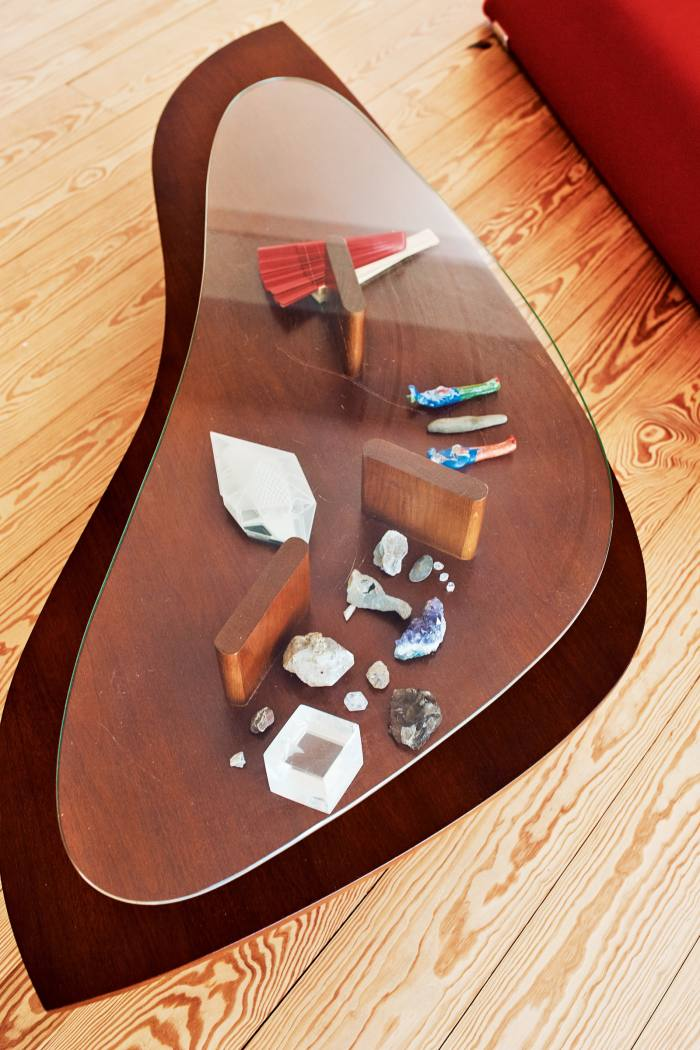 The coffee table in her living room