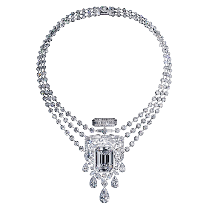 Chanel No 5 High Jewellery white-gold and diamond 55.55 necklace (not for sale)