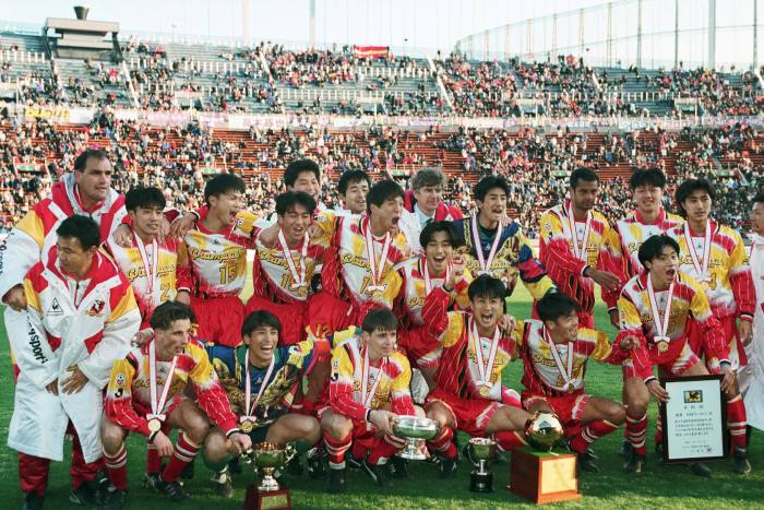 When he joined Arsenal in 1996 from Japanese club Nagoya Grampus Eight (pictured), Wenger became only the fourth foreigner to manage in England's top division