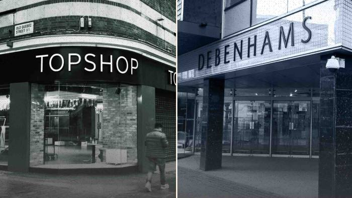 The collapse of Debenhams and Topshop owner Arcadia has left England and Wales with 15m sq ft of empty retail space
