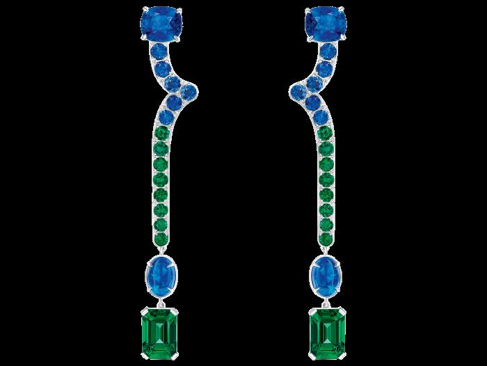 Louis Vuitton Stellar Times emerald, sapphire, black opal, platinum and white-gold Céleste earrings, POA