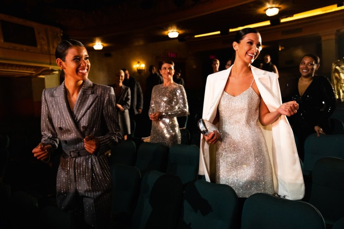From left: models Dilone, Helena Christensen and Bella Hadid in the Shubert Theatre