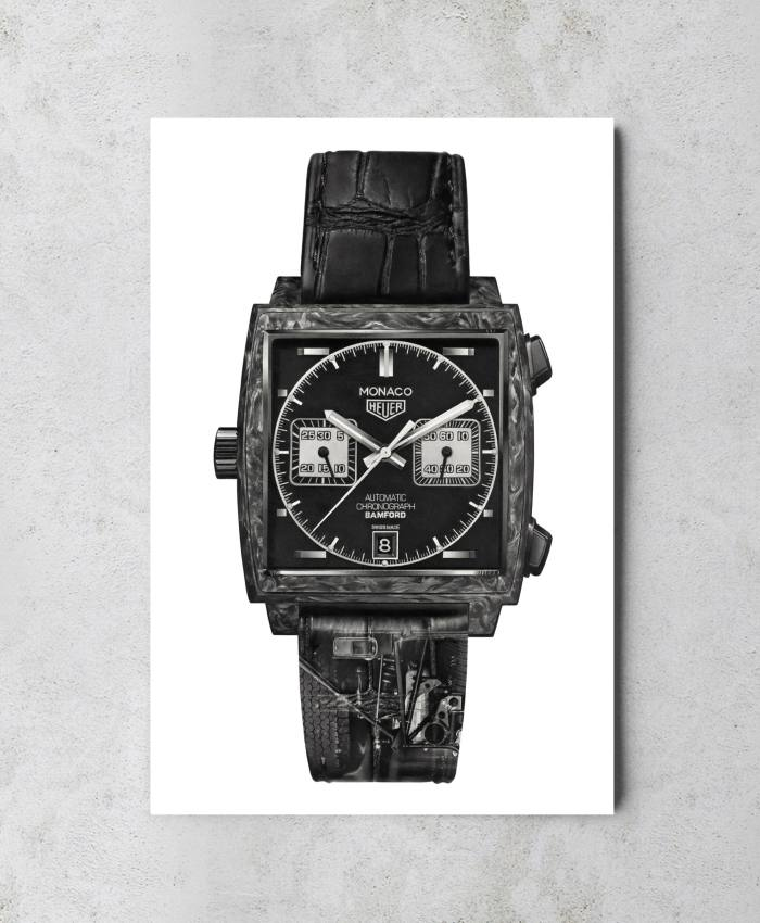 Kraulis's print of a carbon-cased Monaco, Tag Heuer's collaboration with Bamford Watch Department
