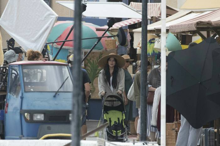 Dakota Johnson on set of 'The Lost Daughter', which takes place on the island of Spetses
