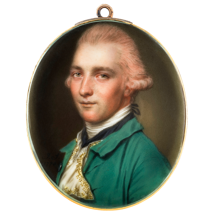 Gentleman in a Powdered Wig and Green Jacket , 1770, by John Smart (40mm high), from Philip Mould