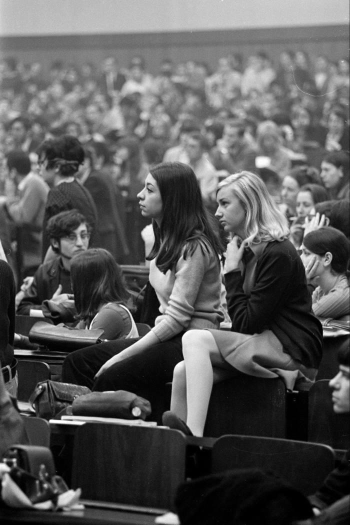 Students crowd into the amphitheatre at Paris Nanterre University in April 1968