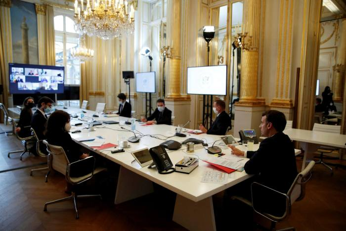 Emmanuel Macron at a video conference meeting with African Union officials at the  Elysée Palace, Paris, France, on February 17 2021