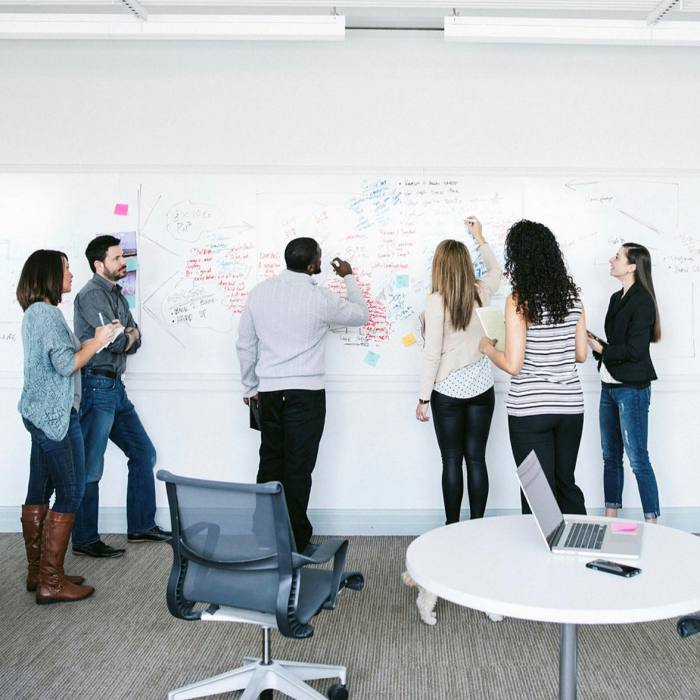 He says the creative process is that frenetic spark that happens when a group of people are face-to-face, 'pacing back and forth against a messy whiteboard'