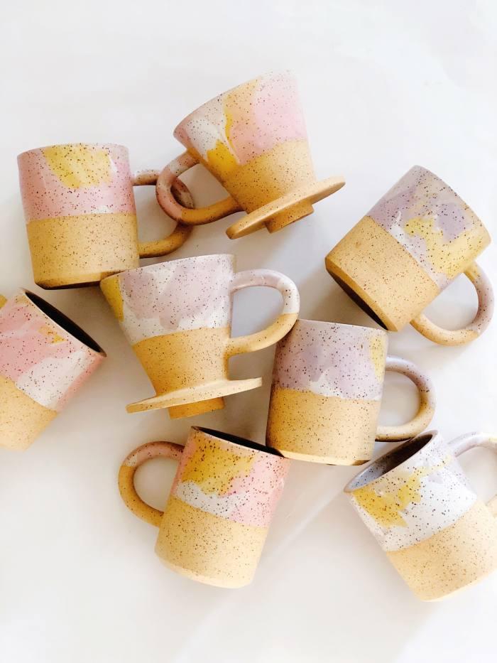 O-m Ceramic Sorbet mugs, $56, and coffee dripper, $76