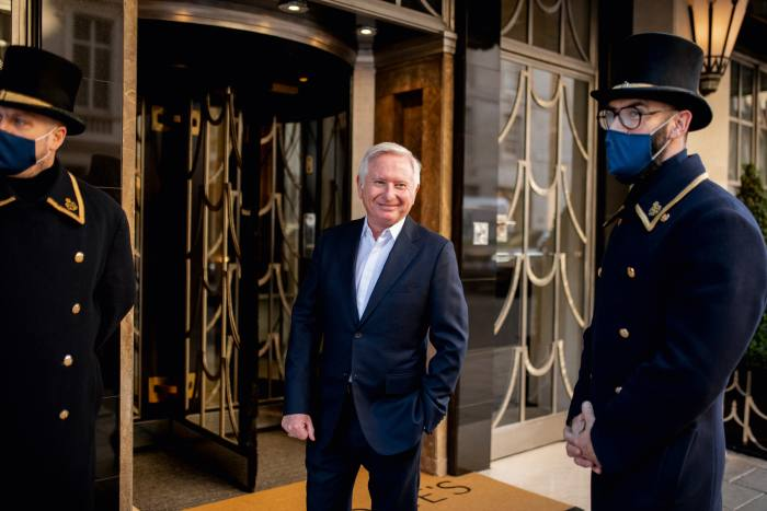 """McKillen at the entrance to Claridge's, which he says """"is as important to London as Buckingham Palace"""""""