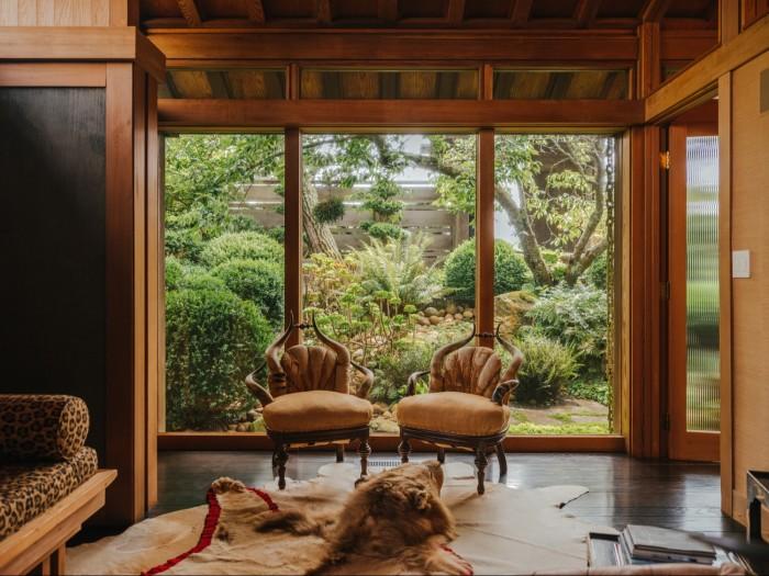 Fulk's study looksonto a Japanese-style rock garden
