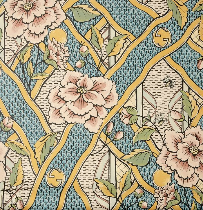 Antoinette Poisson x Gucci wallpaper, £315 for two 70cm x 350cm panels, from gucci.com