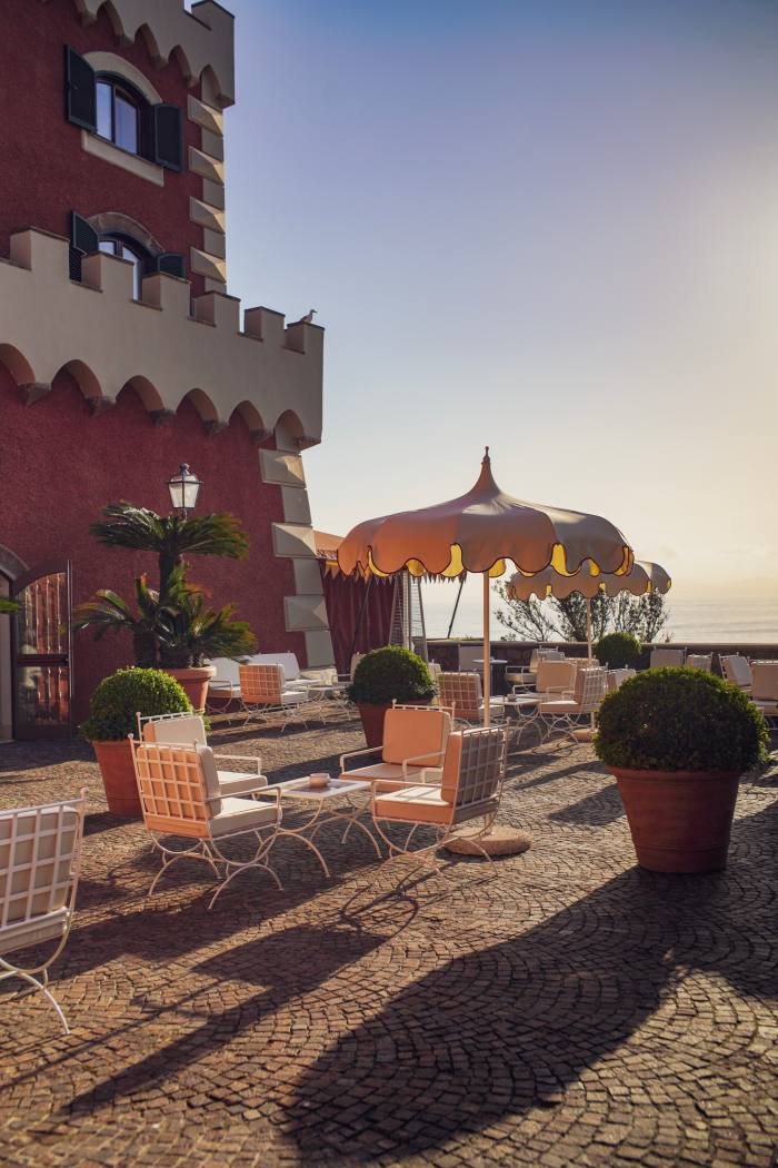 The Mezzatorre Hotel is situated in a 16th-century watchtower overlooking the Bay of Naples