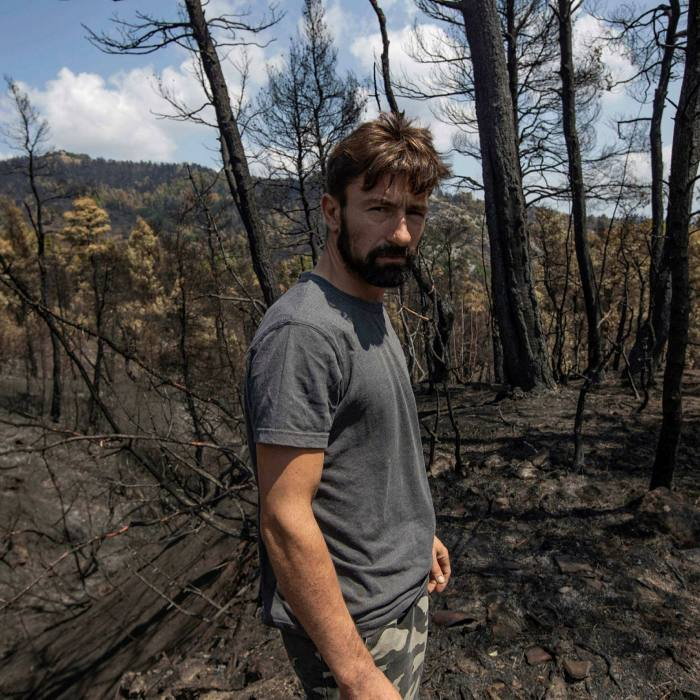 Resin collector Yorgos Anagnostou says he and even the next generation will never see the forest return to the way it was
