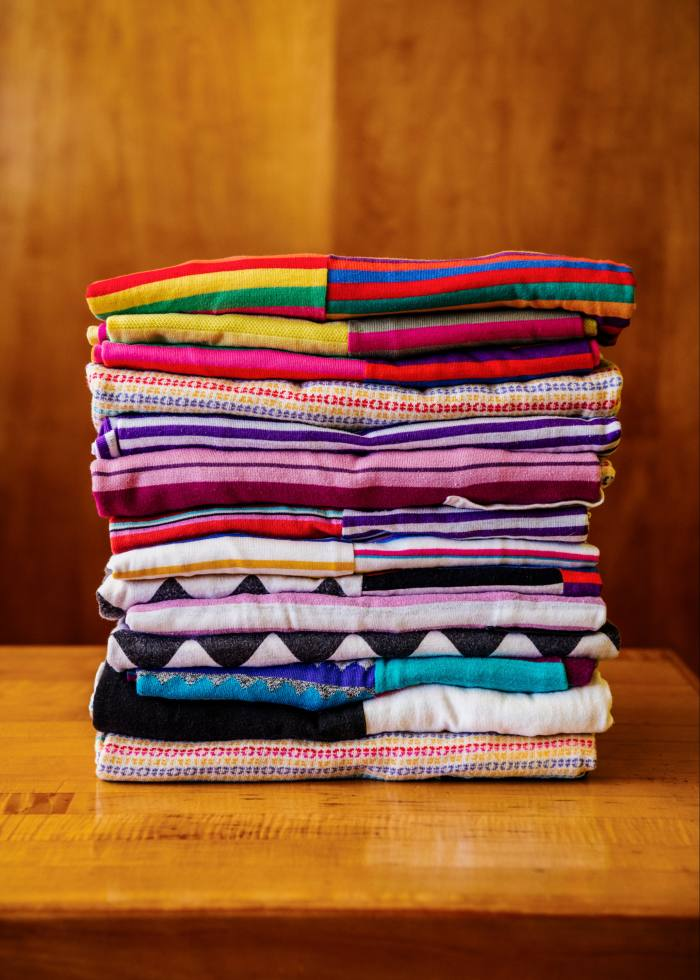 Some of Shire's collection of striped clothing