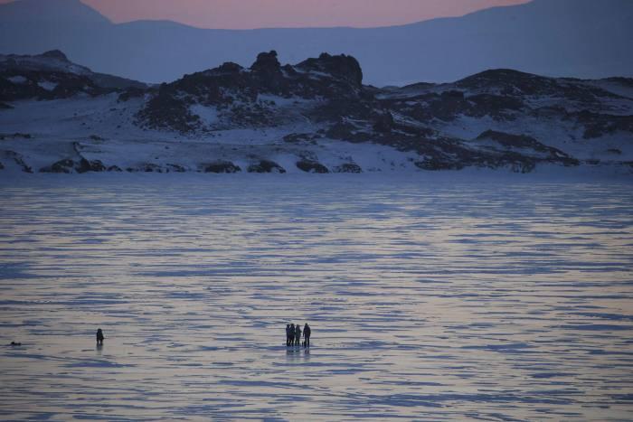 People on the ice of Lake Baikal