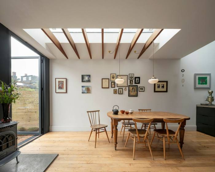A rear extension introduces natural light and open space