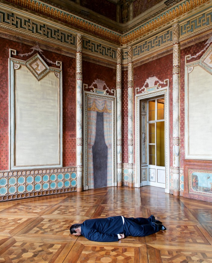 The Death of Marat, 2011, by He Xiangyu, part of the Facing the Collector exhibition at Castello di Rivoli