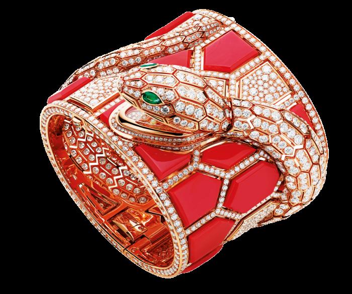 Bulgari coral, diamond, emerald and pink-gold Serpenti secret watch, POA