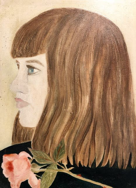 Yasmin With Rose, a painting of Yasmin David by Lorna Wishart, c1959