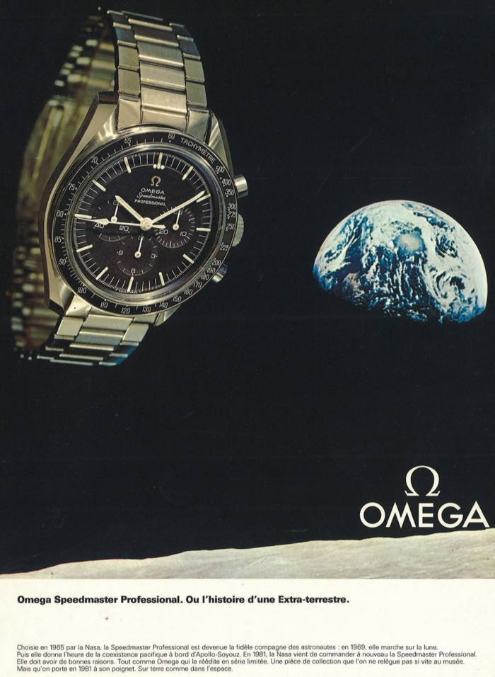 A 1981 advertisement for the Omega Speedmaster