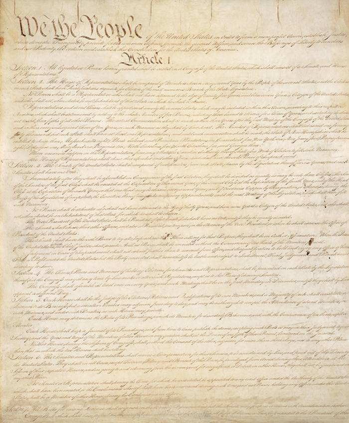 The first page of the original copy of the US constitution from 1787. 'Interest in the constitution is [currently] off the charts,' says Jeffrey Rosen of the National Constitution Center in Philadelphia