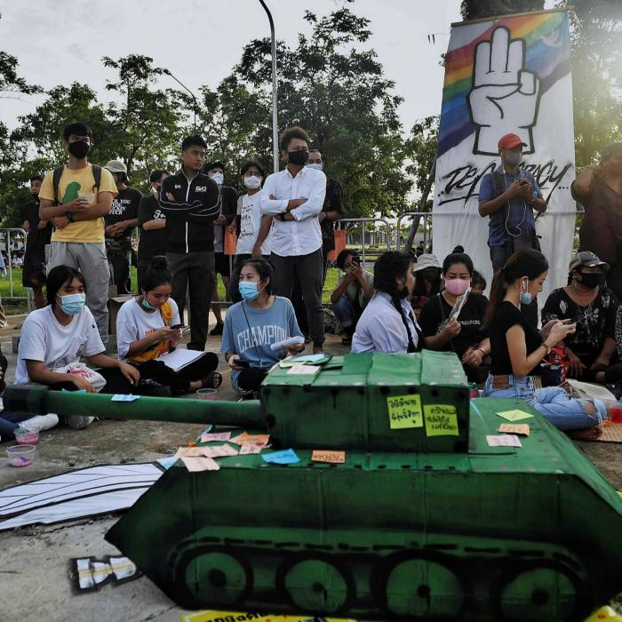 A fake tank in front of students during an anti-government rally at King Mongkut's Institute of Technology in Bangkok