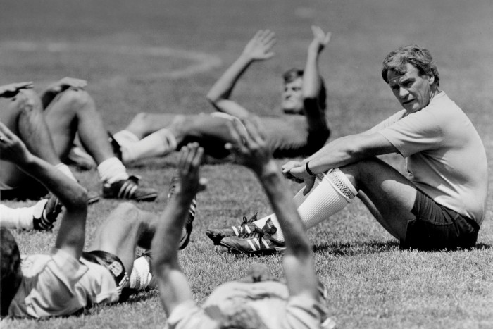 England manager Bobby Robson watches his team during a training session for the 1986 World Cup finals in Mexico