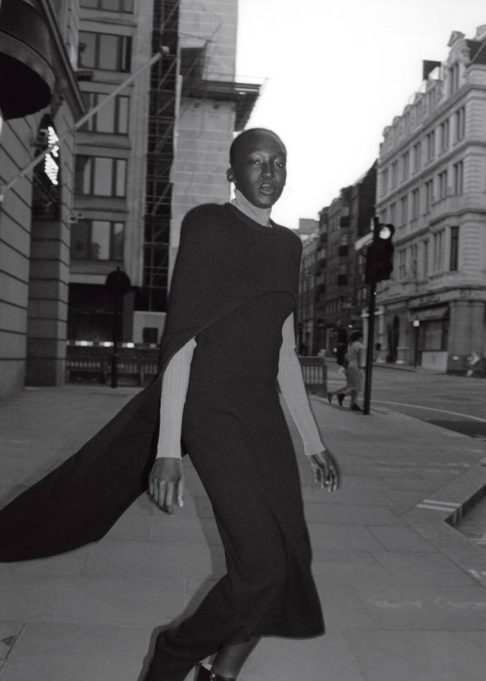 Givenchy cashmere cape and dress, POA. Joseph rayon rollneck, £285. Malone Souliers calfskin Lori ankle boots (just seen), £675