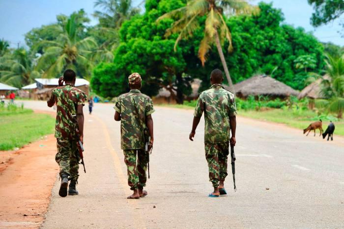 Mozambican soldiers patrol the streets of Mocimboa da Praia