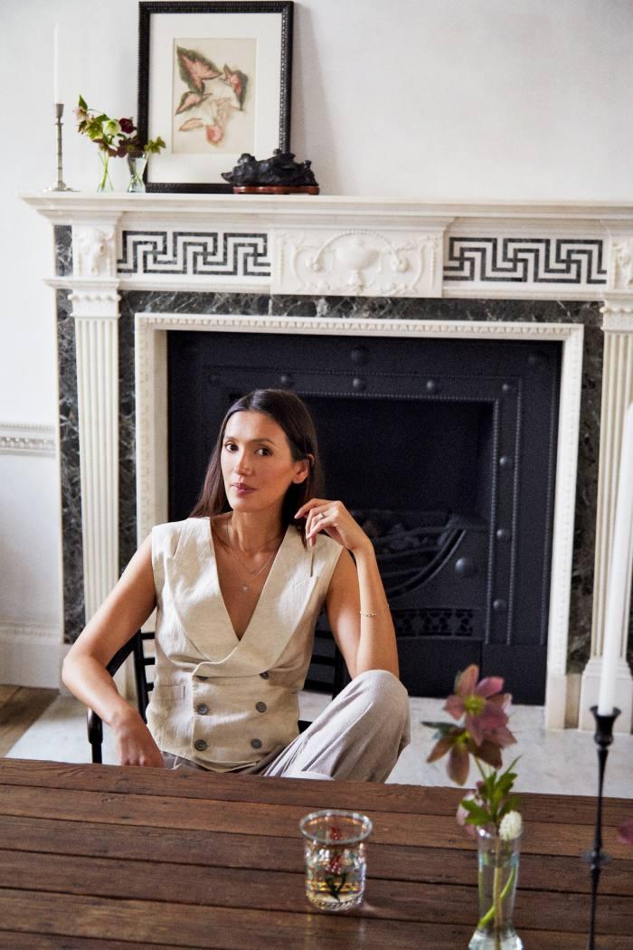 Yokoyama at homein London, wearing a Giorgio Armani linen gilet, £810, and silk trousers, £1,150