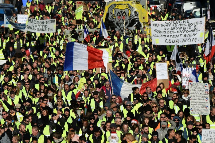 A 'gilets jaunes' protest in Marseille. Europe's governments fear their drive to lower emissions will lead to a similar backlash to the one in France that was sparked by a rise in fuel prices