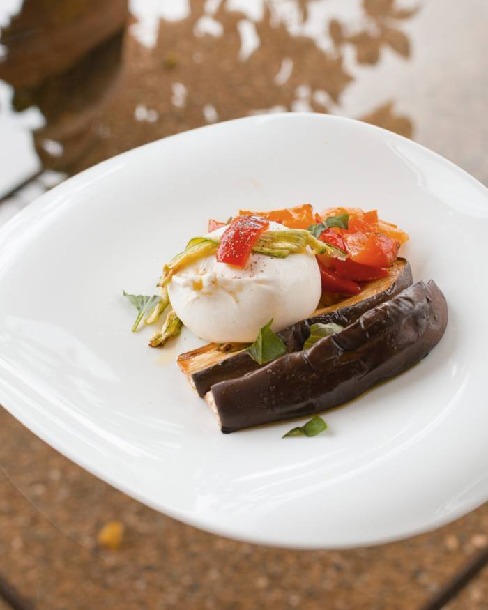Burrata with marinated aubergines and peppers