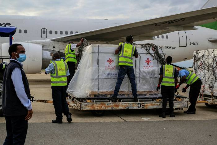 A shipment of Sinopharm Covid-19 vaccine at the Harare International Airport in February in Harare, Zimbabwe