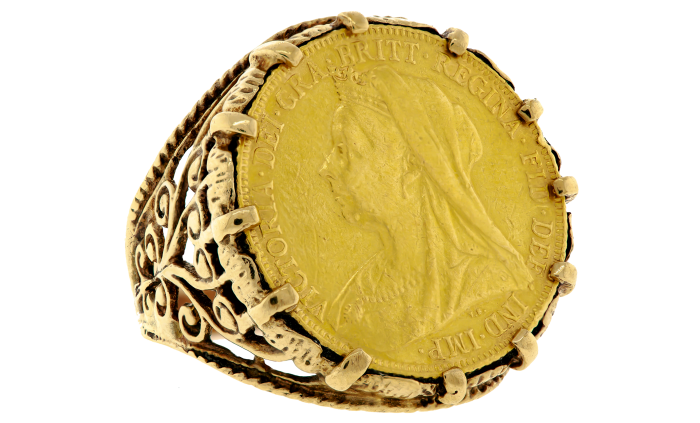 Sovereign-coin ring, £1,278, from 1stdibs