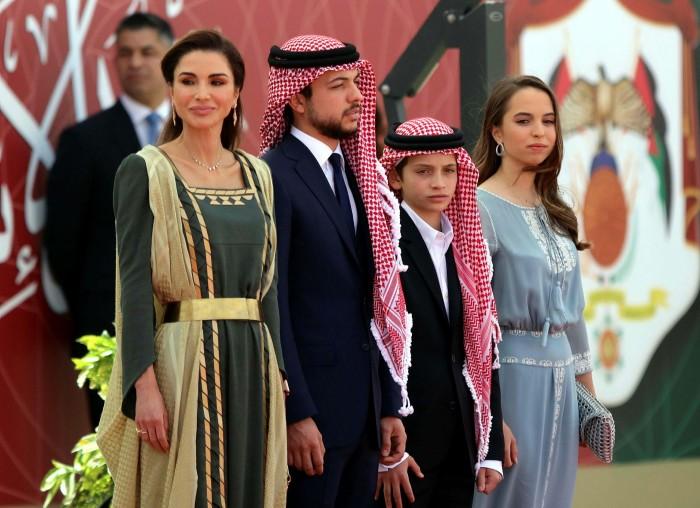 Queen Rania (left), Crown Prince Hussein bin Abdullah, Prince Hashem bin Abdullah and Princess Salma bint Abdullah