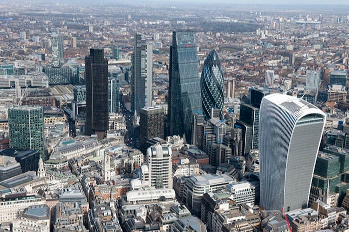 An aerial view of the City of London. Financial services, which account for about 7 per cent of British GDP, are barely covered by the trade deal. Johnson has admitted that it does 'not go as far as we would like'
