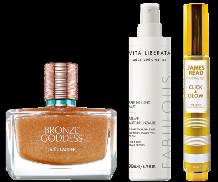 From left: Estée Lauder Limited-Edition BronzeGoddess Shimmering Oil Spray for Hair & Body, £39. VitaLiberata Fabulous Self-Tanning Mist, £15. James Read Click & Glow, £25