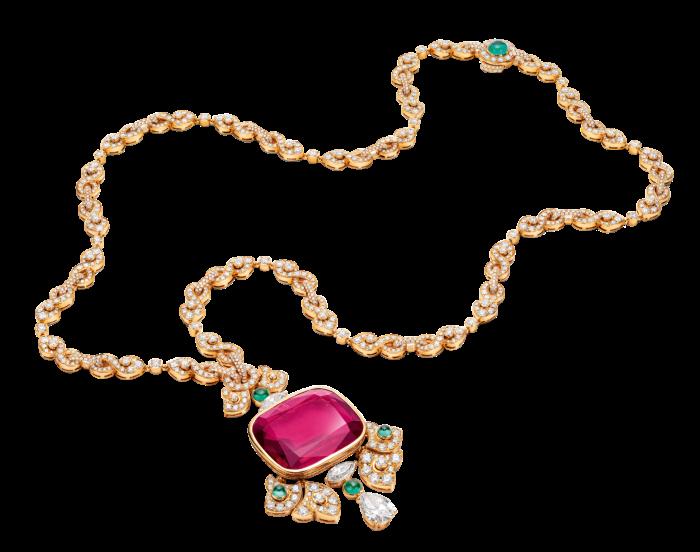 Bulgari Barocko gold, 58ct rubellite, emerald and diamond Pink Twistnecklace, POA
