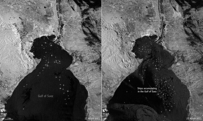 The wedged Ever Given is visible in images captured by the Copernicus Sentinel-1 mission