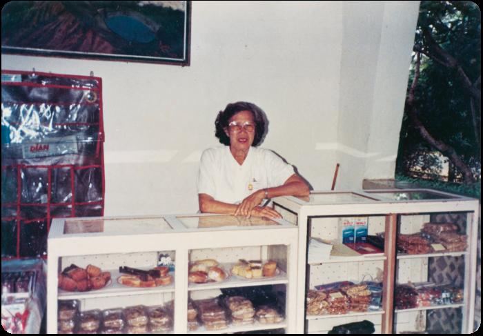 Lara Lee's grandmother Margaret at her bakery in Kupang, Timor